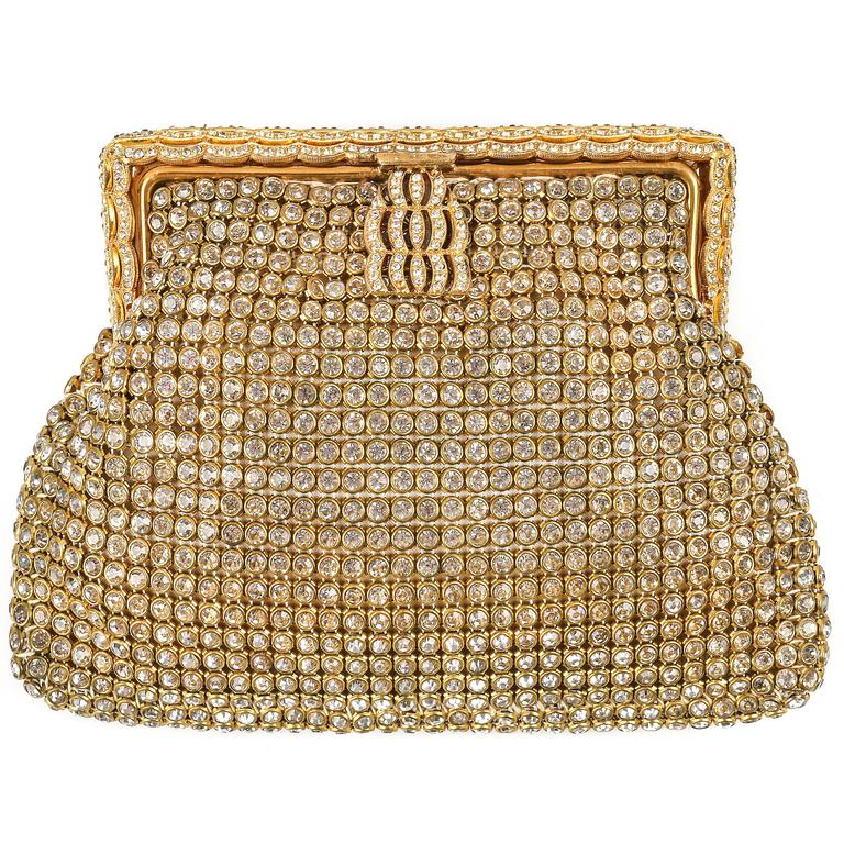 c.1950's Gold Rhinestone Mesh Scalloped Edge Detail Evening Bag Clutch Purse 1