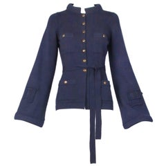 Chanel Navy Cashmere Cardigan With Bell Sleeves Waist Tie and Metal Buttons 2010
