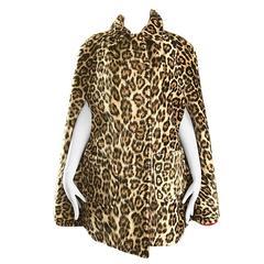 Chic 1960s Reversible Leopard + Red Faux Fur Vintage 60s Cape Swing Jacket