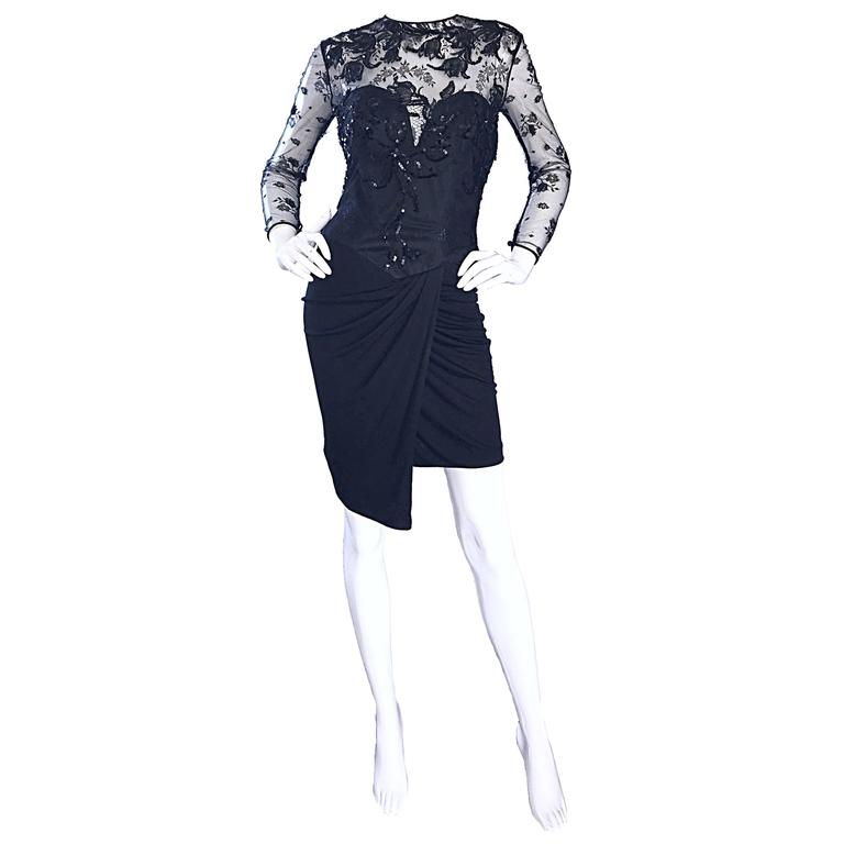 Vicky Tiel Couture Vintage Black Jersey + Lace + Sequins Sexy Asymmetrical Dress