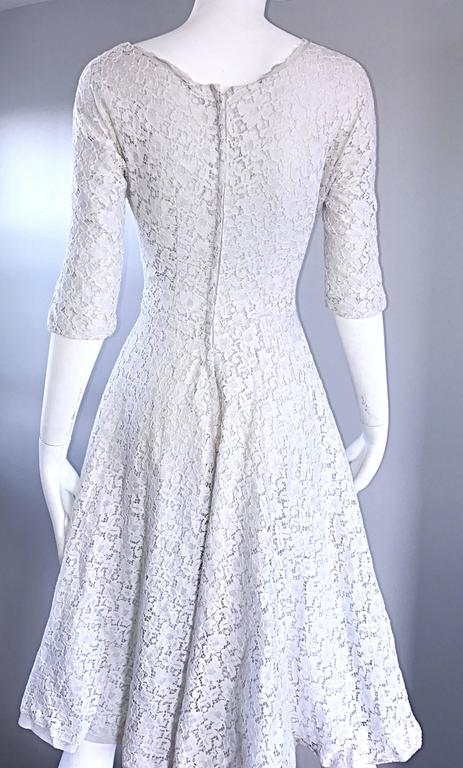 Beautiful 1950s White Lace Baby Blue 3 4 Sleeves Vintage