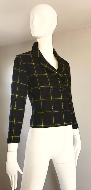 chic 1960s vintage navy blue  green  yellow tartan plaid double breasted blazer for sale at 1stdibs