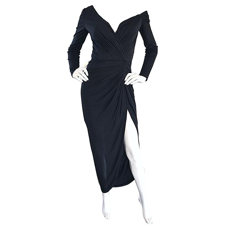 Amazing Vintage VIcky Tiel Couture Sexy Late 70s Black Jersey Assymetrical Gown