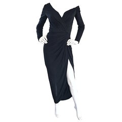 Amazing Vintage VIcky Tiel Couture 80s Sexy 1980s Black Jersey Assymetrical Gown