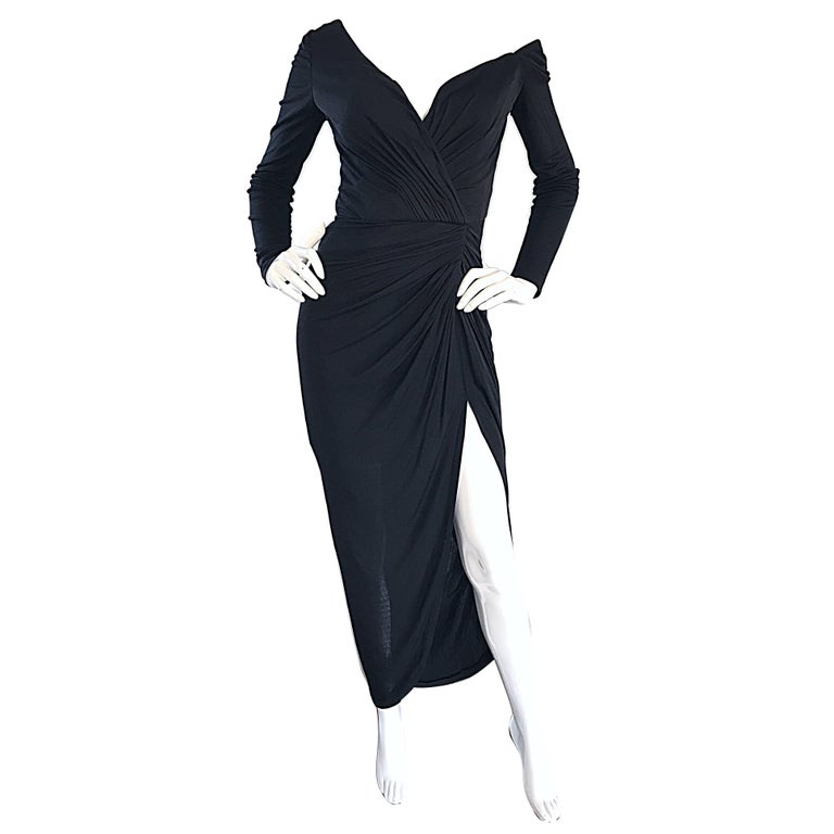 Amazing Vintage VIcky Tiel Couture 80s Sexy 1980s Black Jersey Assymetrical Gown For Sale