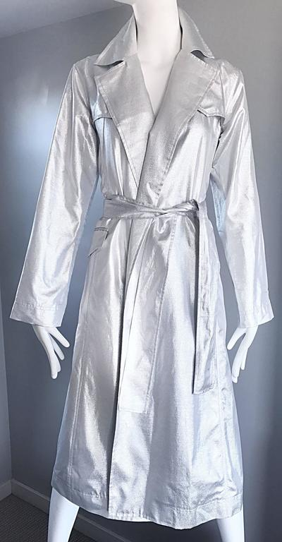 Behnaz Sarafpour Amazing Silver Metallic Belted Trench Runway Jacket Coat Size 4 For Sale 2