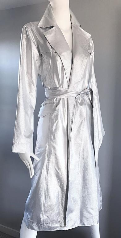 Behnaz Sarafpour Amazing Silver Metallic Belted Trench Runway Jacket Coat Size 4 For Sale 5