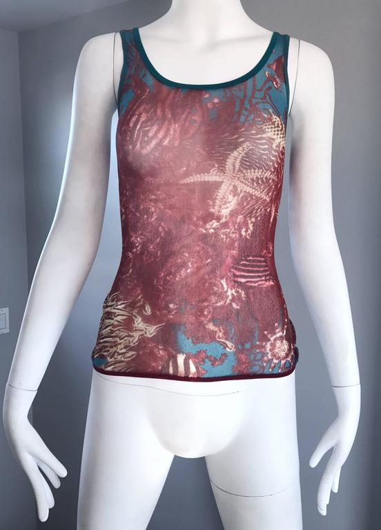 Brown 1990s Jean Paul Gaultier Sea Life Novelty Signature Semi Sheer Mesh Tank Top For Sale