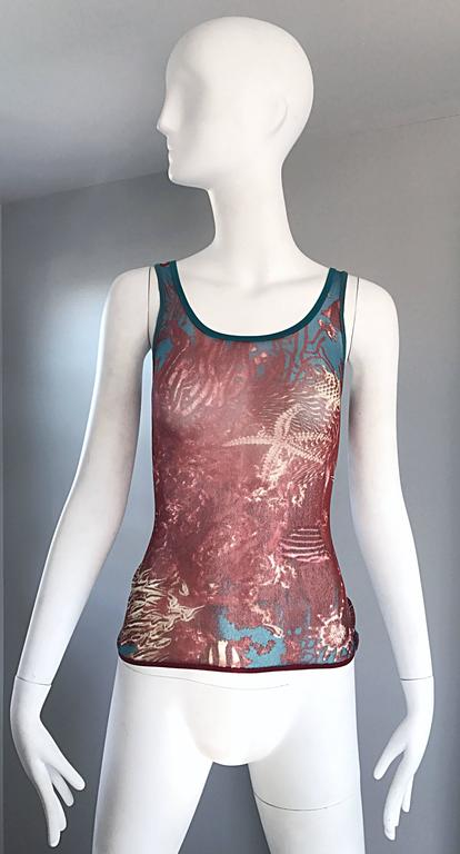 1990s Jean Paul Gaultier Sea Life Novelty Signature Semi Sheer Mesh Tank Top In Excellent Condition For Sale In Chicago, IL