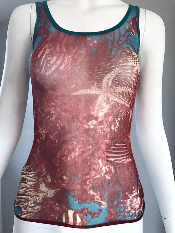 Women's 1990s Jean Paul Gaultier Sea Life Novelty Signature Semi Sheer Mesh Tank Top For Sale