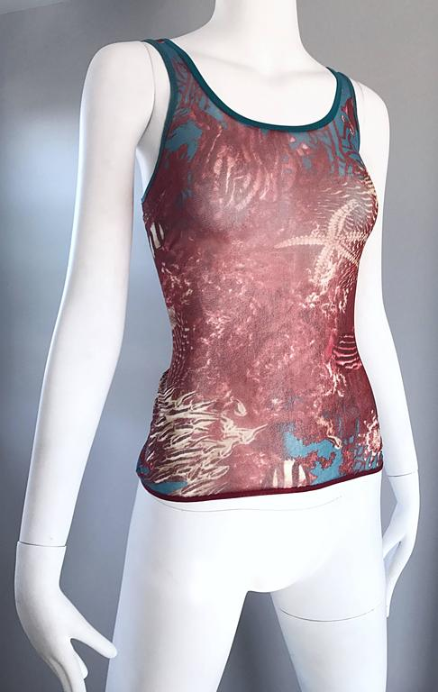1990s Jean Paul Gaultier Sea Life Novelty Signature Semi Sheer Mesh Tank Top For Sale 3