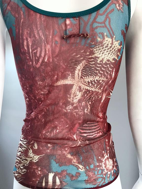 1990s Jean Paul Gaultier Sea Life Novelty Signature Semi Sheer Mesh Tank Top For Sale 5
