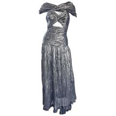 1970s Ted Lapidus Haute Couture Silver Metallic Silk Plisse Cut - Out Gown Dress