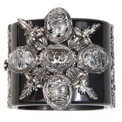 Chanel Vintage Stunning Black Silver Star Cuff