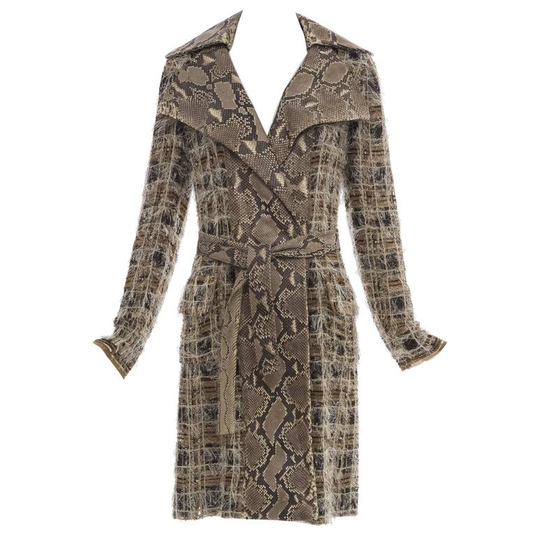Dolce & Gabbana Runway Python And Silk Chiffon Trench Coat, Spring - Summer 2005 For Sale