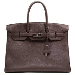 Hermes Chocolate Brown Birkin 35 Bag