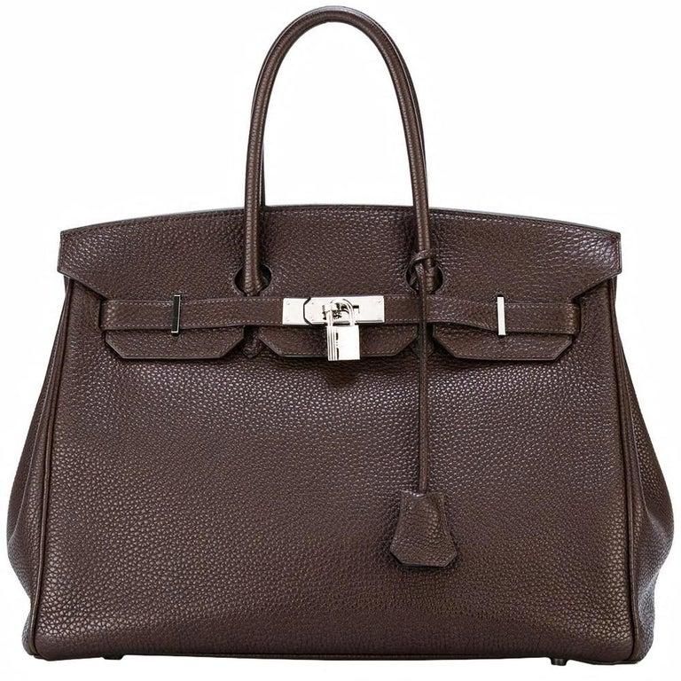 Hermes Chocolate Brown Birkin 35 Bag