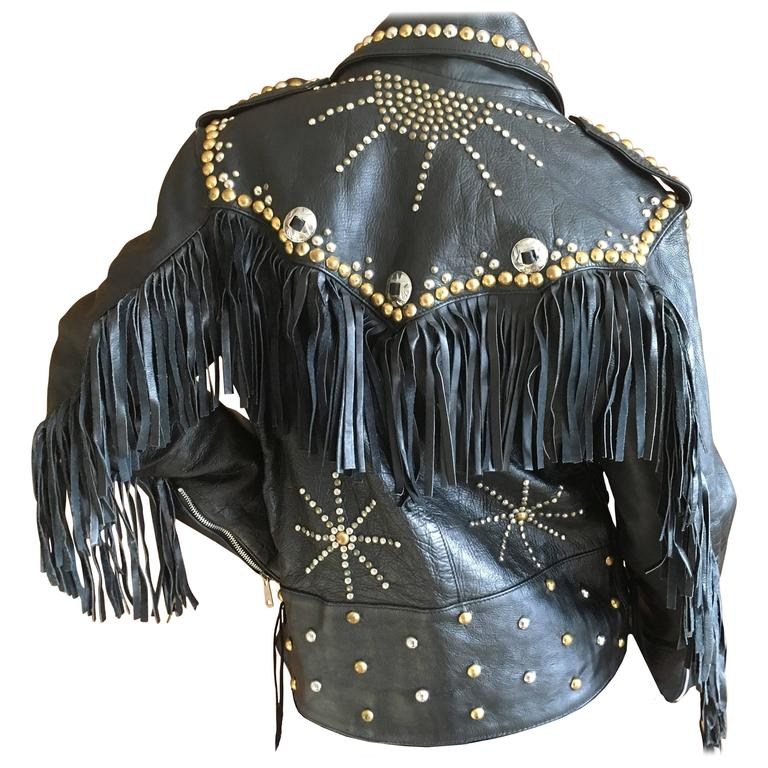 Vintage Men S Leather Motorcycle Jacket With Fringe And