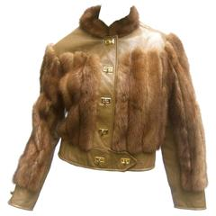 Sale Mink & Leather Eisenhower Style Cropped Jacket c 1970s