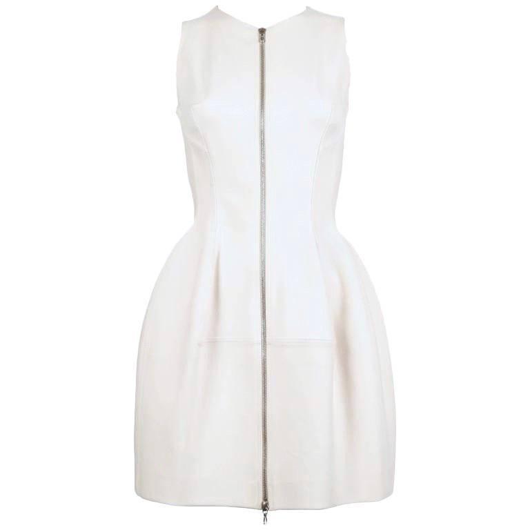 AZZEDINE ALAIA cream tulip dress with zipper front For Sale