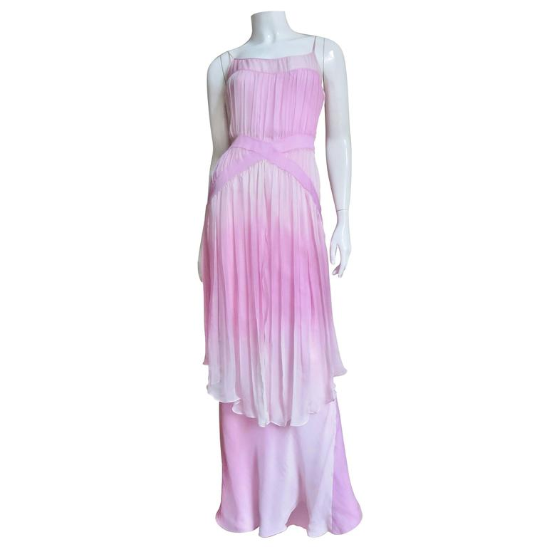 2000s John Galliano Pink Silk Ombre Dress