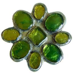 Merot Etruscan Style Pewter Belt Buckle with Green Glass Stones 1970s