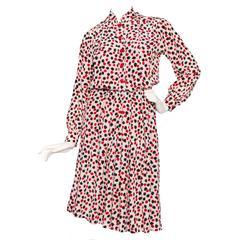 Printed Yves Saint Laurent Rive Gauche Silk Day Dress