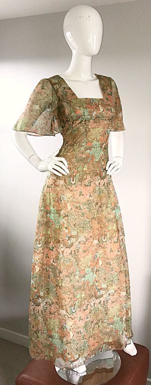 Rare Ricky Richards 1970s ' Asian Warriors ' Vintage 70s Novelty Boho Maxi Dress 4