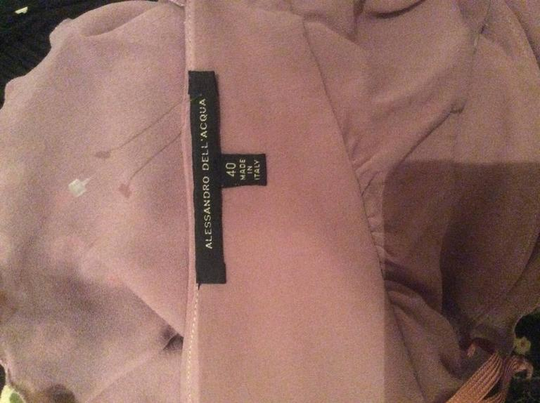 ffd89f6a749997 Alessandro Dell  Acqua 90s Lilac Lavender Silver Butterfly Silk Chiffon  Blouse In Excellent Condition For