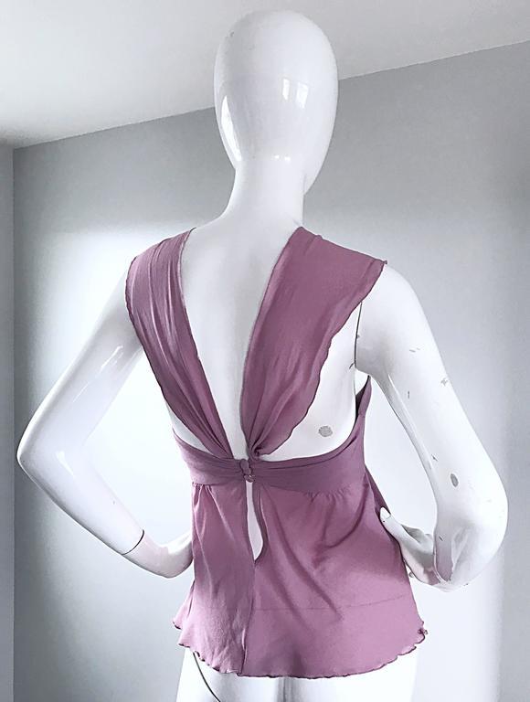 e913eac04bdb49 Alessandro Dell  Acqua 90s Lilac Lavender Silver Butterfly Silk Chiffon  Blouse For Sale 2