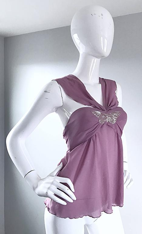 b3d6eb4a6a6357 Alessandro Dell  Acqua 90s Lilac Lavender Silver Butterfly Silk Chiffon  Blouse For Sale 1