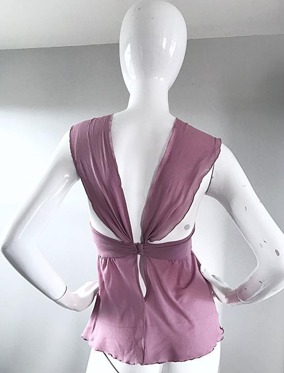 eed89787e252c3 Alessandro Dell  Acqua 90s Lilac Lavender Silver Butterfly Silk Chiffon  Blouse For Sale 4