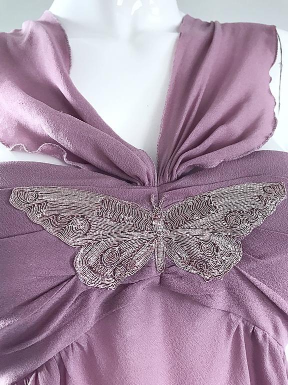 8ac6c668086aa5 Alessandro Dell  Acqua 90s Lilac Lavender Silver Butterfly Silk Chiffon  Blouse For Sale 6
