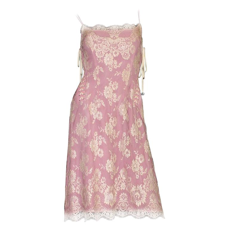 Dolce & Gabbana Silk and Lace Dress with Laceup Details