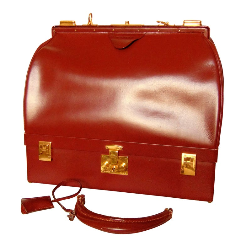 Hermes Sac Mallette Jewelry Box Travel Case Cordovan Box Leather Vintage 1970s For Sale