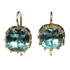 Georgian Style Cushion Cut Blue Rock Crystal Silver Gold Vermeil Earrings