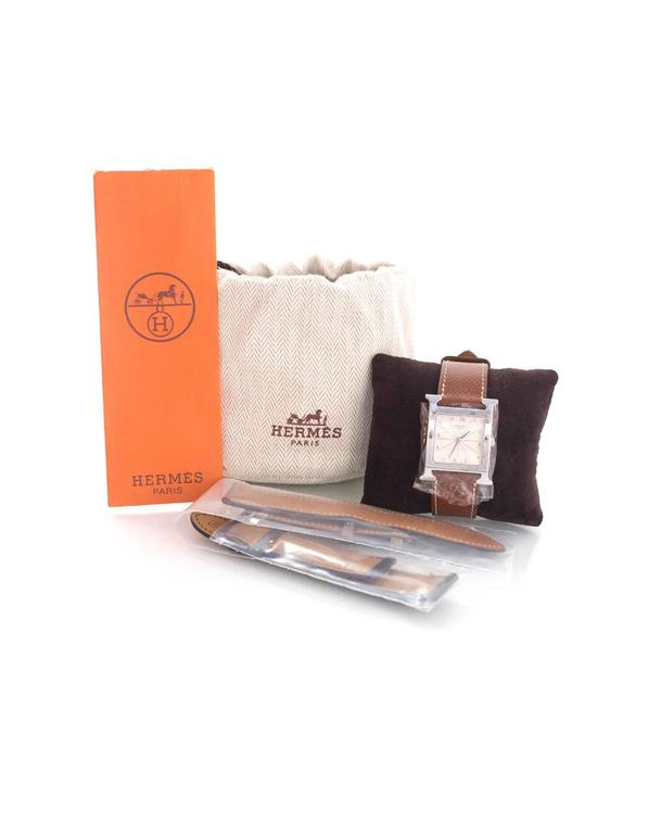 Hermes Tan Heure H MM Watch w/ Grey & Black Extra Bands 6
