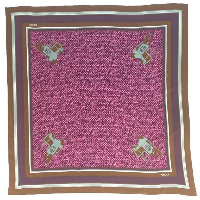 Gucci Vintage Saddle and Snakeskin Print Silk Scarf