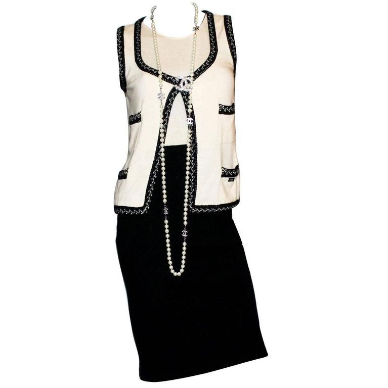Chanel Cashmere Signature Dress Suit Set Ensemble