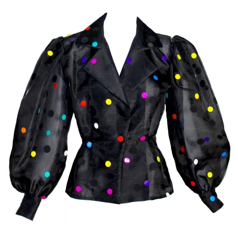 Vintage Givenchy  Boutique Black Organza Colorful Paillettes Polka Dots Blouse T For Sale