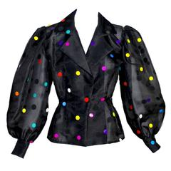 Givenchy Boutique Vintage Black Organza Colorful Paillettes Polka Dots Blouse