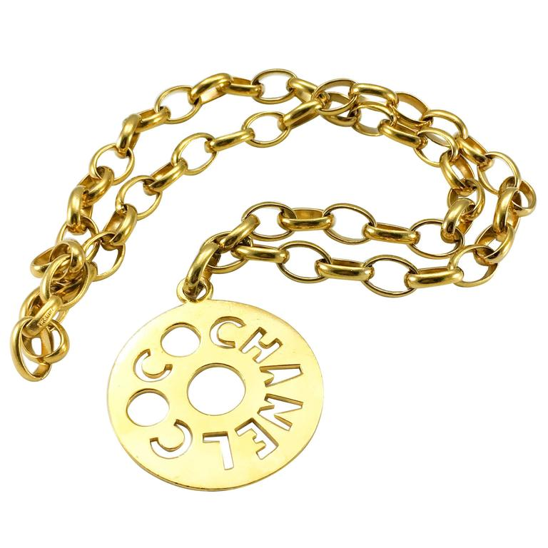 Chanel Chunky Gold-Tone 'Coco Chanel' Disk Pendant Chain Necklace - 1970's For Sale