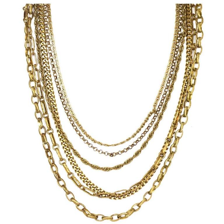 Chanel Vintage 6 Strand Goldtone Chain-link Gripoix Necklace 1