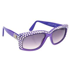 Emmanuelle Khanh 80s Iconic Purple Rhinestone Encrusted Sunglasses
