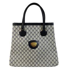 Gucci monogram 1980'si shopper leather bag blue tote handbag