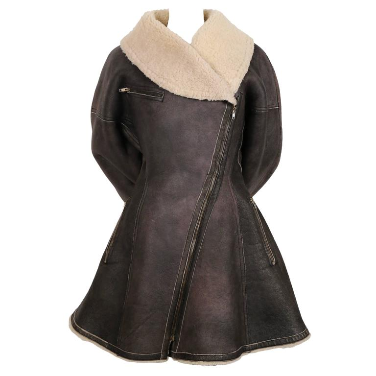 1987 AZZEDINE ALAIA flared brown shearling coat with shawl collar 1