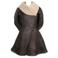 1987 AZZEDINE ALAIA flared brown shearling coat with shawl collar
