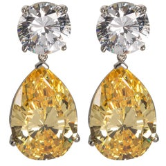 Magnificent  Costume Jewelry GIA Report White and Yellow Drop CZ Earrings
