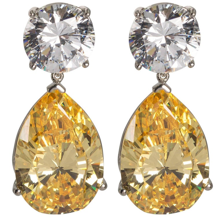 Magnificent Costume Jewelry Gia Report White And Yellow Drop Cz Earrings For