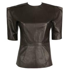 LANVIN F/W 2010 Runway Collection Dark Brown Calf Leather Shirt Structured Top